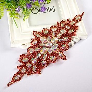 Wedding Belt Bridal Dress Sash Belt Applique with Red AB Stone Belt Waist Decoration Embellishments Rhinestone Gold Trim
