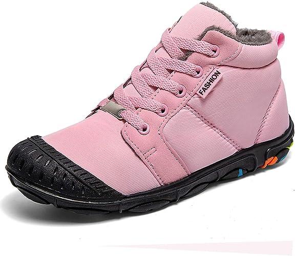 Kids Ankle Snow Boots Boys Girls Winter Warm Fur Lined Waterproof Sneakers Sizes