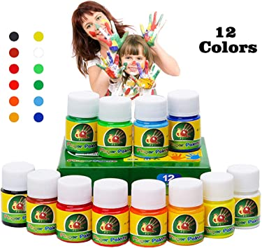 Hapree 12 Colors Washable Finger Paint Non Toxic Bathtub Kids Paint Set Fingerpaints Kit For Toddlers 12 X 30 Ml 1 02 Fl Oz