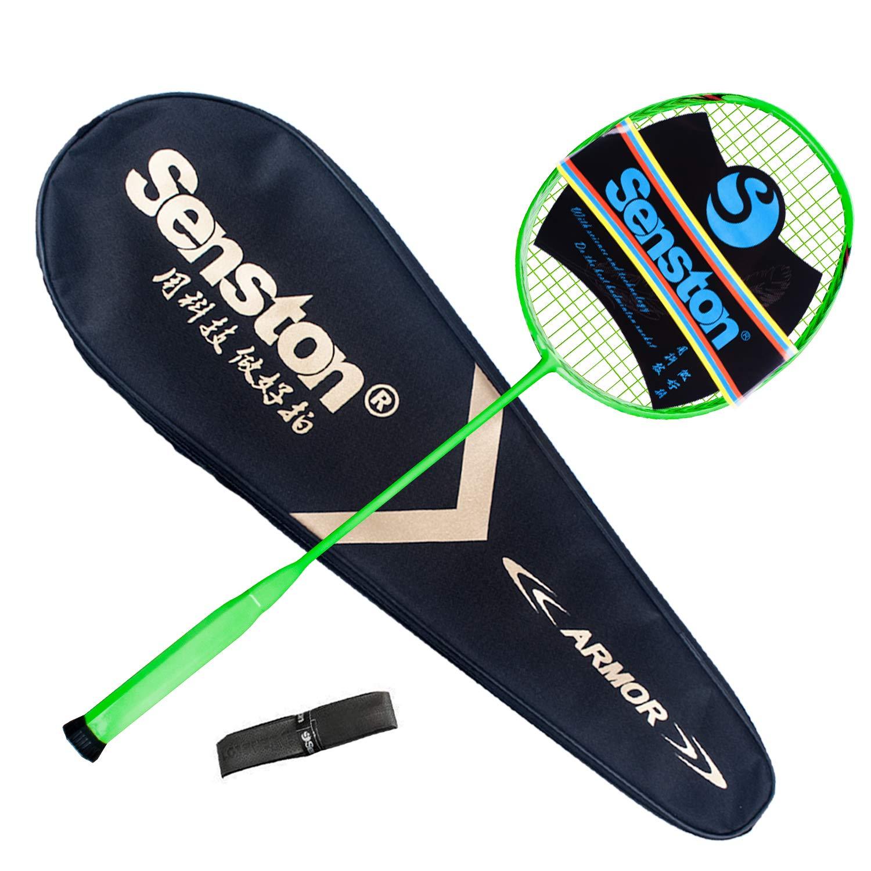 Senston N80-YT Jointless Badminton Racket Single High-Grade Badminton Racquet Carbon Fiber Badminton Racket Green with Racket Cover and Overgrip