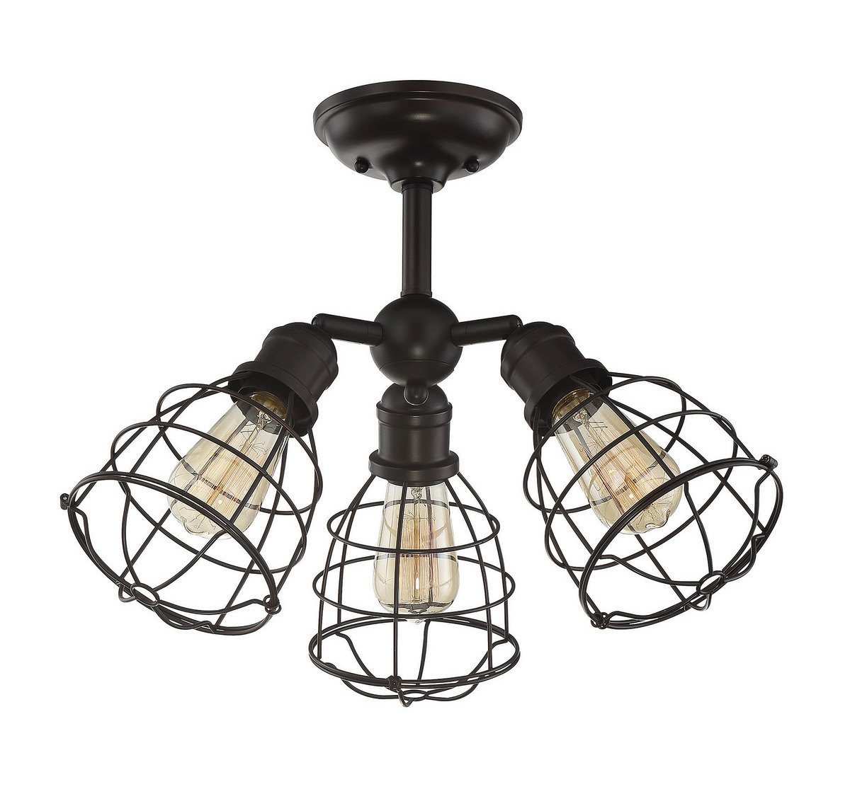 Savoy House 6-4136-3-13, Scout 3-Light Adjustable Semi-Flush in English Bronze