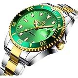 Mens Watches Men Waterproof Large Face Gold Stainless Steel Calendar Date Wrist Watch Luxury Sports Business Dress Classical Analogue Quartz Watches for Men