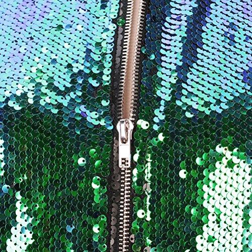 Moda Coat Stand Elegantes Lentejuelas Casuales Casual Invierno Abrigos Cuello Manga Verde Bomber Battercake Cremallera Chaquetas De Outerwear Otoño Retro Mujeres Brillo Jacket Mujer Larga Con tSw7qaYR