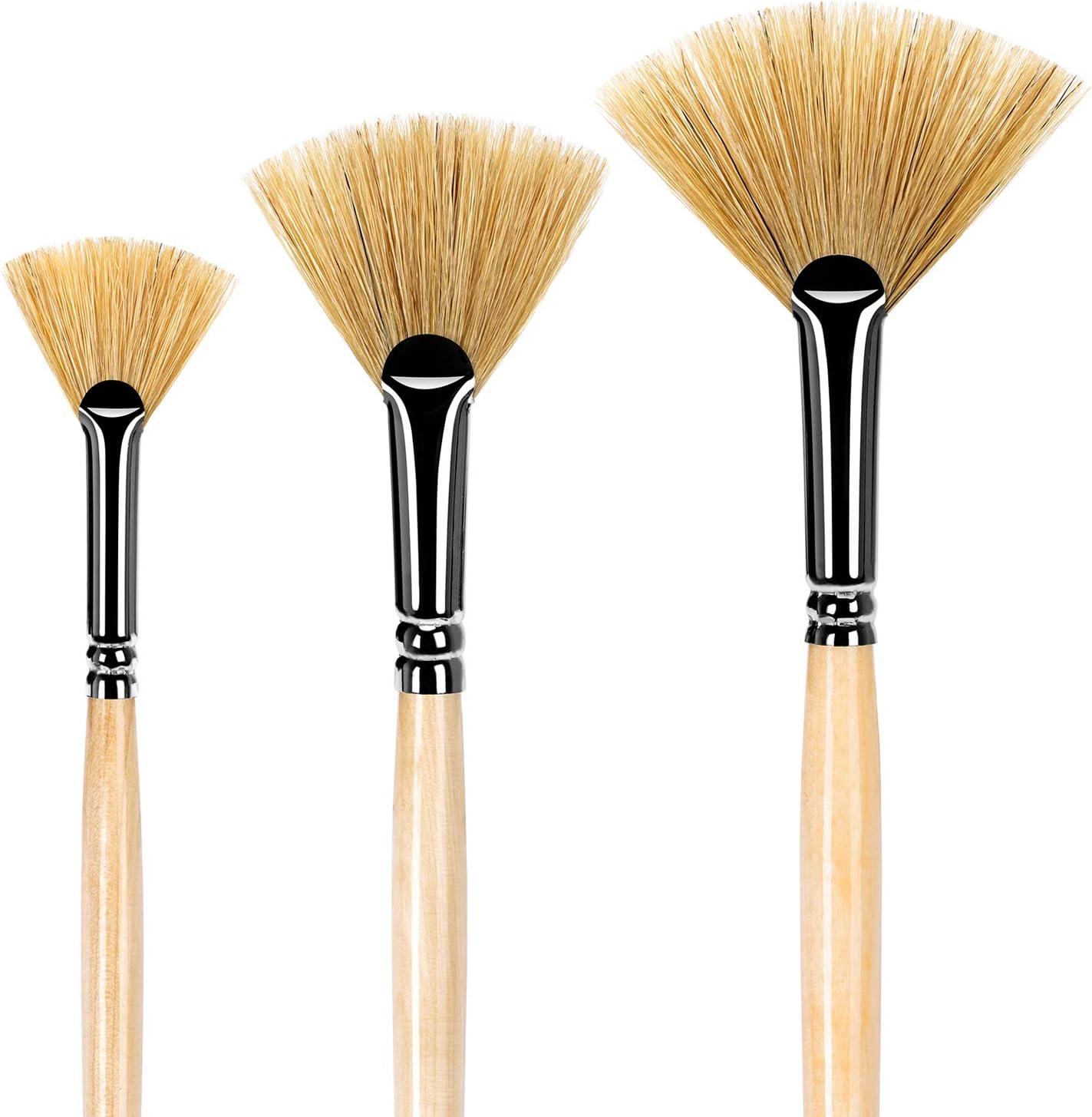 Fan Brush Set Hog Bristle Hair 3pcs Artist Soft Anti-Shedding Paint Brushes for Acrylic Watercolor Oil Painting