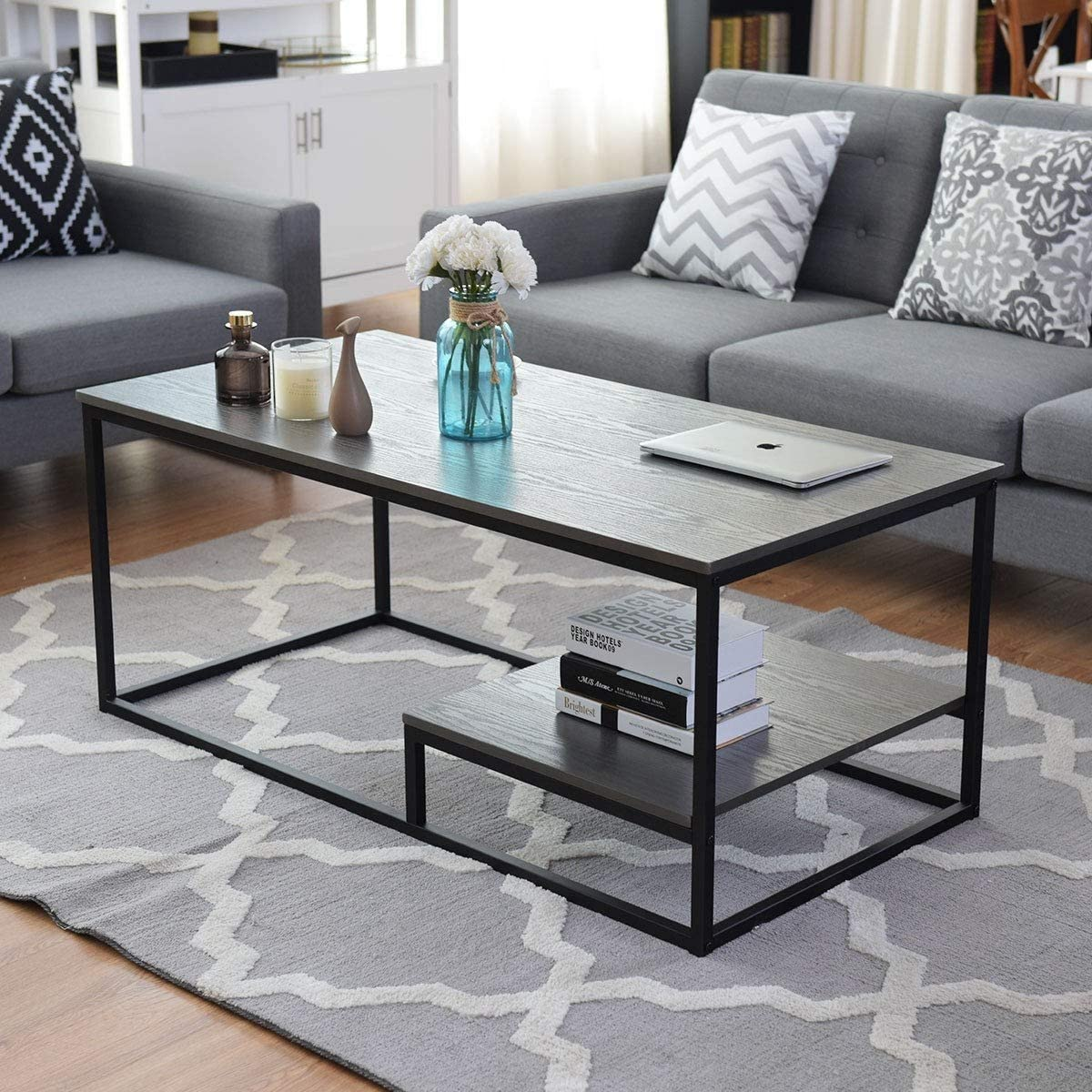 Coffee Table Bookcase Storage Underneath 2 Tier Cocktail Accent