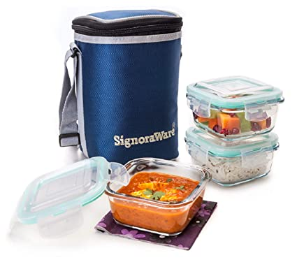 7b28123af5b2 Signoraware Director Glass Lunch Box Set with Bag, 320ml/13cm, 3-Pieces,  Transparent