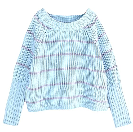 Cruiize Womens Long Bat Sleeve Pullover Striped Cropped Sweater