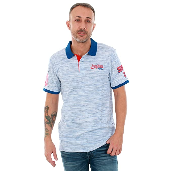 JACK & JONES Polo Hombre Azul 12147813 JORSOFA Polo SS White Slim ...