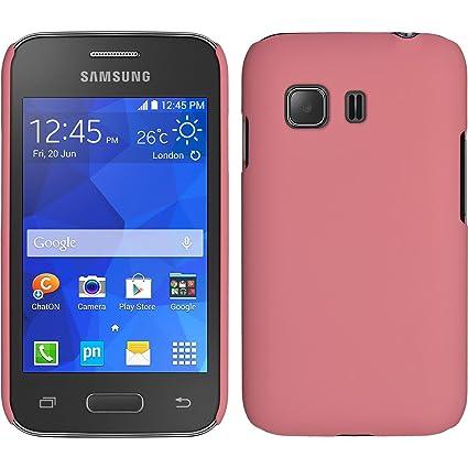 PhoneNatic Funda Rígida Compatible con Samsung Galaxy Young 2 - Goma Rosa - Cover Cubierta + Protector de Pantalla