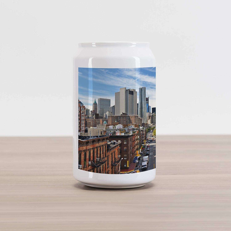 Ceramic Cola Shaped Coin Box Money Bank for Cash Saving Lower Manhattan Cityscape Famous Travel Destination NYC Avenue Historical Ambesonne City Cola Can Shape Piggy Bank Dark Orange Grey Blue