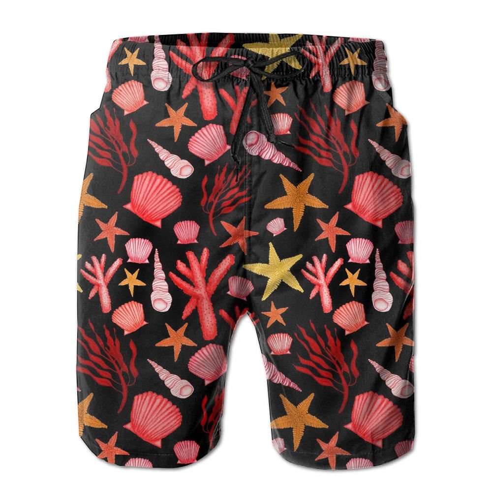 Bing4Bing Starfish Shell Coral Summer Fast Dry Beach Mens Beach Shorts
