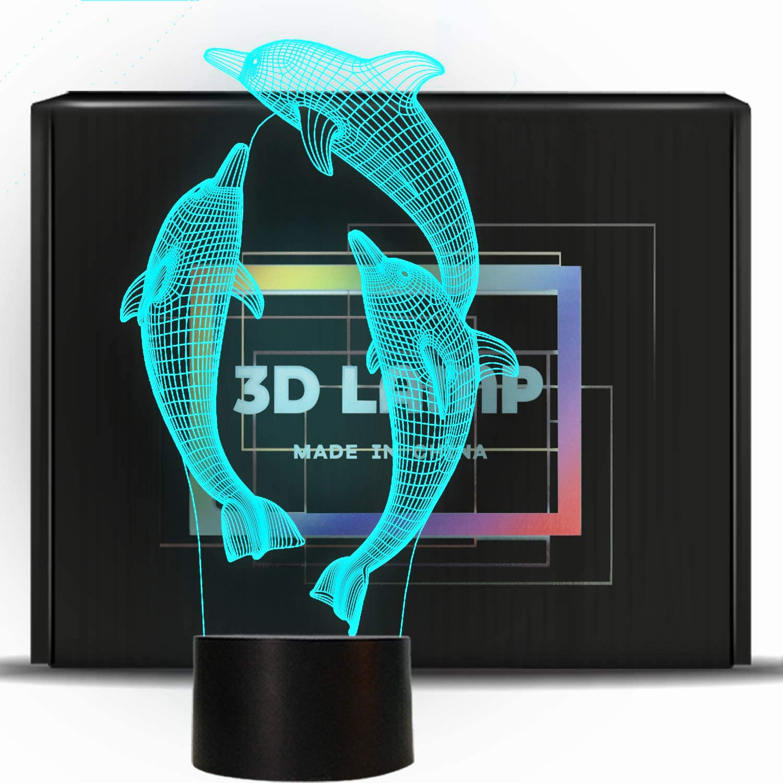 PONLCY novit/à Illusion 3D Lamps LED Dolphin Night Lights USB 7 Colori Sensor Desk Lamp per i Bambini Regali di Compleanno di Natale Decorazione della casa