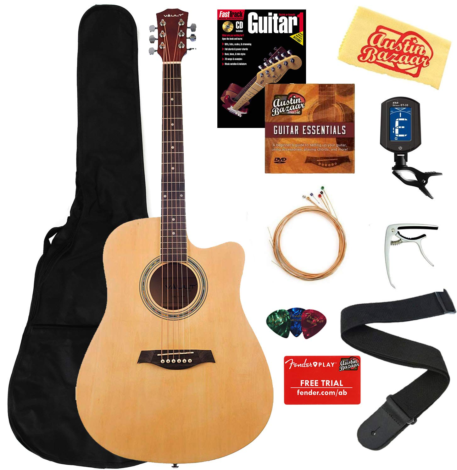 Vault 41-Inch Cutaway Acoustic Guitar - Natural Bundle with Gig Bag, Strap, Strings, Capo, Tuner, Picks, Fender Play Online Lessons, Instructional Book, and Austin Bazaar Instructional DVD by Vault