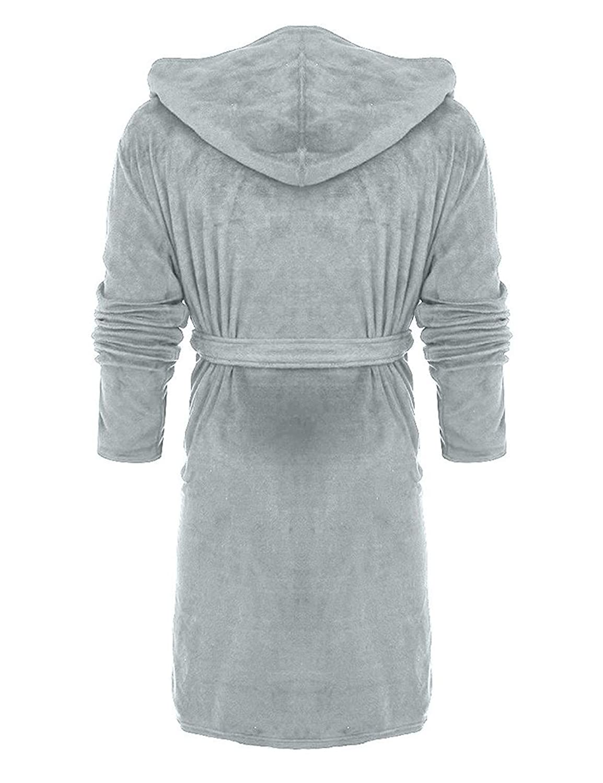 237dc83da9 WISREMT Women s Hooded Robe Plush Soft Warm Fleece Bathrobe Solid Long Spa Pajamas  Velvet Nightgown at Amazon Women s Clothing store