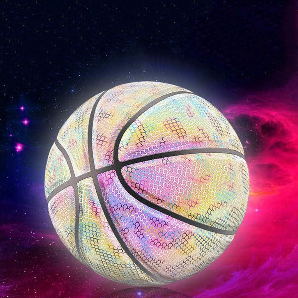 siqiwl Ballon de Basket Basketball Fluorescent Holographique R/éfl/échissant Lumineux Fluorescent Basket-Ball Lumineux Lueur Nuit Basket-Ball Jeu N /° 7 Basket
