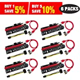 PCIe Riser, N.ORANIE 6-Pack PCI Extender Cable 16X to 1X Powered Riser Adapter Card w/60cm USB 3.0 Extension Cable,4 Solid Capacitors,3 Power Options-Ethereum Mining Bitcoin Litecoin Dedicated