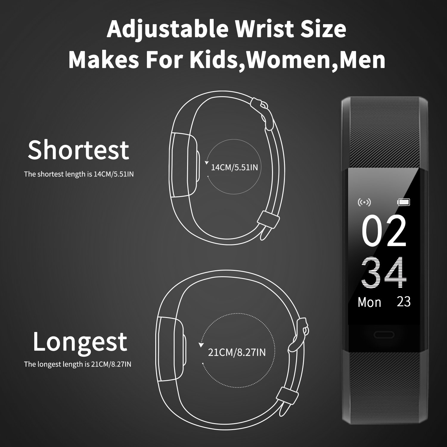 Fitness Tracker Activity Tracker Aneken Smart Band Heart Rate Sleep Monitor Waterproof Smart Bracelet Bluetooth Pedometer Wristband Smart Watches for Android and iOS Smart Phones by ANEKEN (Image #8)