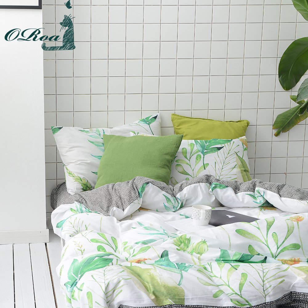 ORoa 100% Cotton, 3pcs Tropical Botanical Duvet Cover Set, Floral Pattern Green Garden Leaves Printed on White Bedding