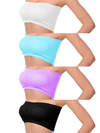 aa518e3c97 Coobey 4 Pack Women s Seamless Bandeau Crop Tube Bra Strapless Top Bra with  Removable Pad
