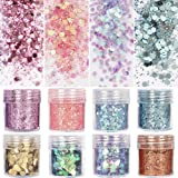 8 boxes unicorn chunky glitter, holographic cosmetic festival chunky glitter, ultra-thin nail glitter sequins iridescent flakes sparkles for face body hair nail