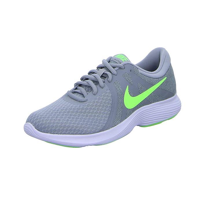 Nike Revolution 4 Herren grau mit grünem Streifen (Wolf Grey