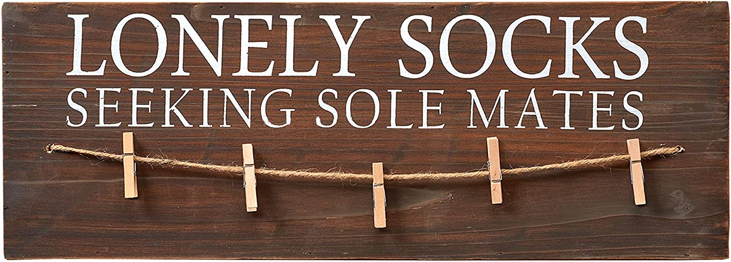 "Barnyard Designs Lonely Socks Seeking Sole Mates Sign Laundry Room Decor 19.75"" x 7"""