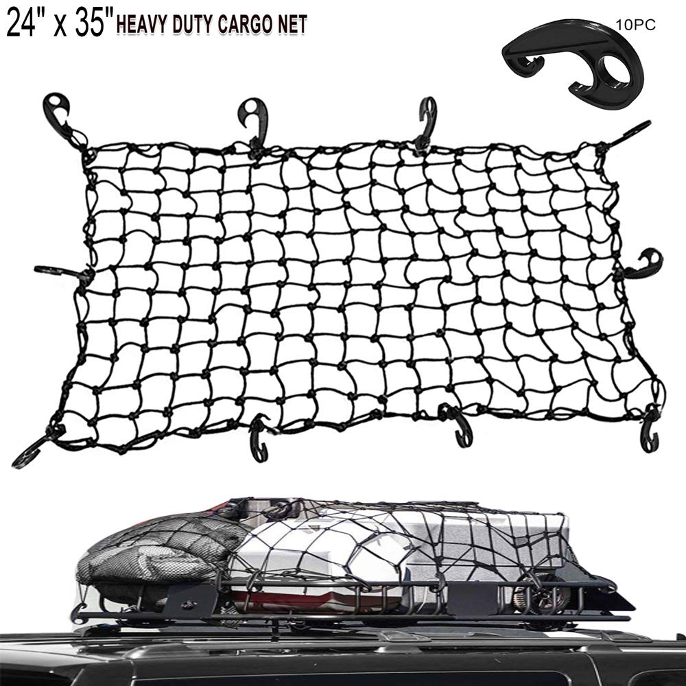 LATIT Cargo Net, Elastic Bungee Cord Luggage Net, Stretches Mesh Net with 10 Adjustable-Placement ABS Hooks for Truck/Motorcycle/Bicycle/SUV/ATV - 24\