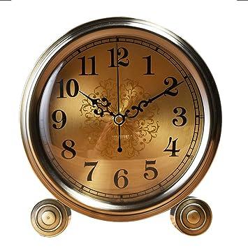 Du-YanTing Reloj de Mesa Reloj de Cobre Reloj Mudo Reloj de Escritorio de 6 Pulgadas Sala de Estar Dormitorio Cabecero Reloj de Alta Gama: Amazon.es: Hogar