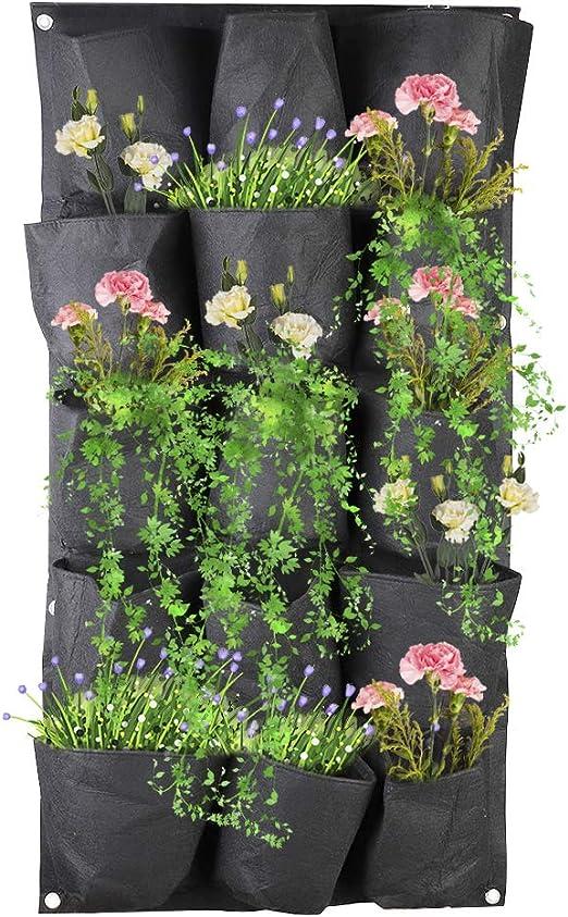 XHONG Maceta de jardín Vertical con 15 Bolsillos para Colgar en la Pared, Bolsas de Fieltro para Plantar Hierbas, Verduras y Flores: Amazon.es: Jardín