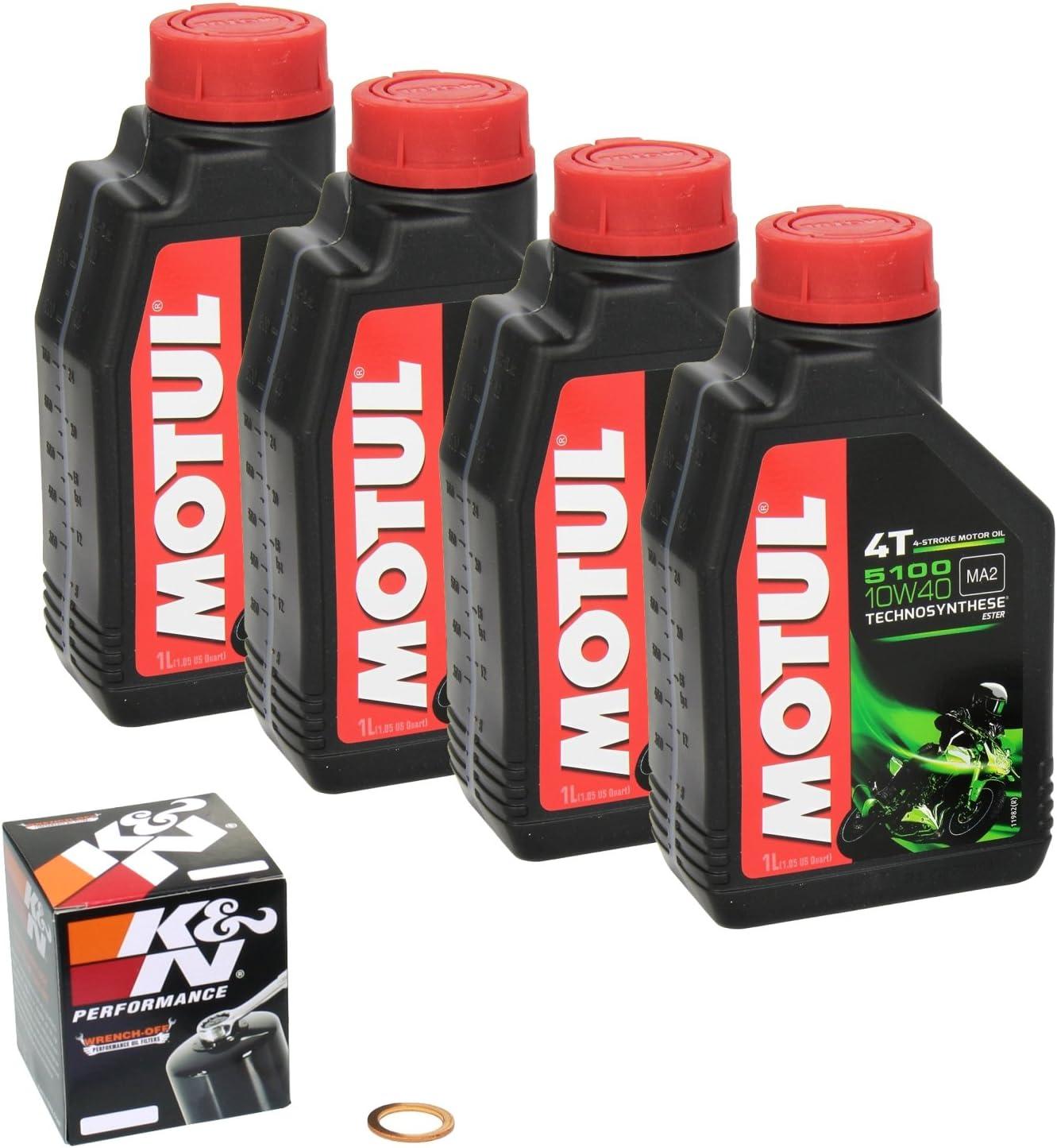 Motul 5100 10w 40 Ölwechsel Set Honda Vtr 1000 F Fire Storm Bj 03 06 Motoröl K N Ölfilter Und Dichtring Auto