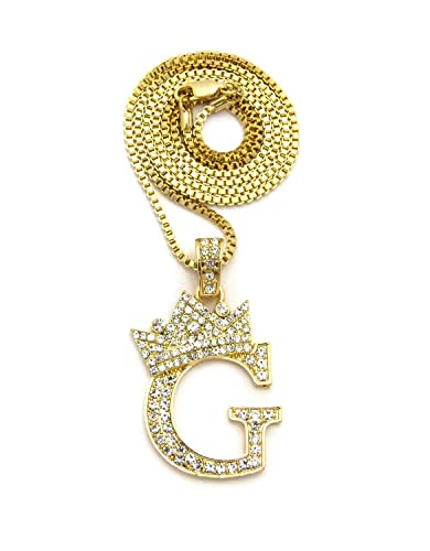 Iced out king crown alphabet g pendant 24 various chain necklace in iced out king crown alphabet g pendant 24quot various chain necklace in gold silver aloadofball Images