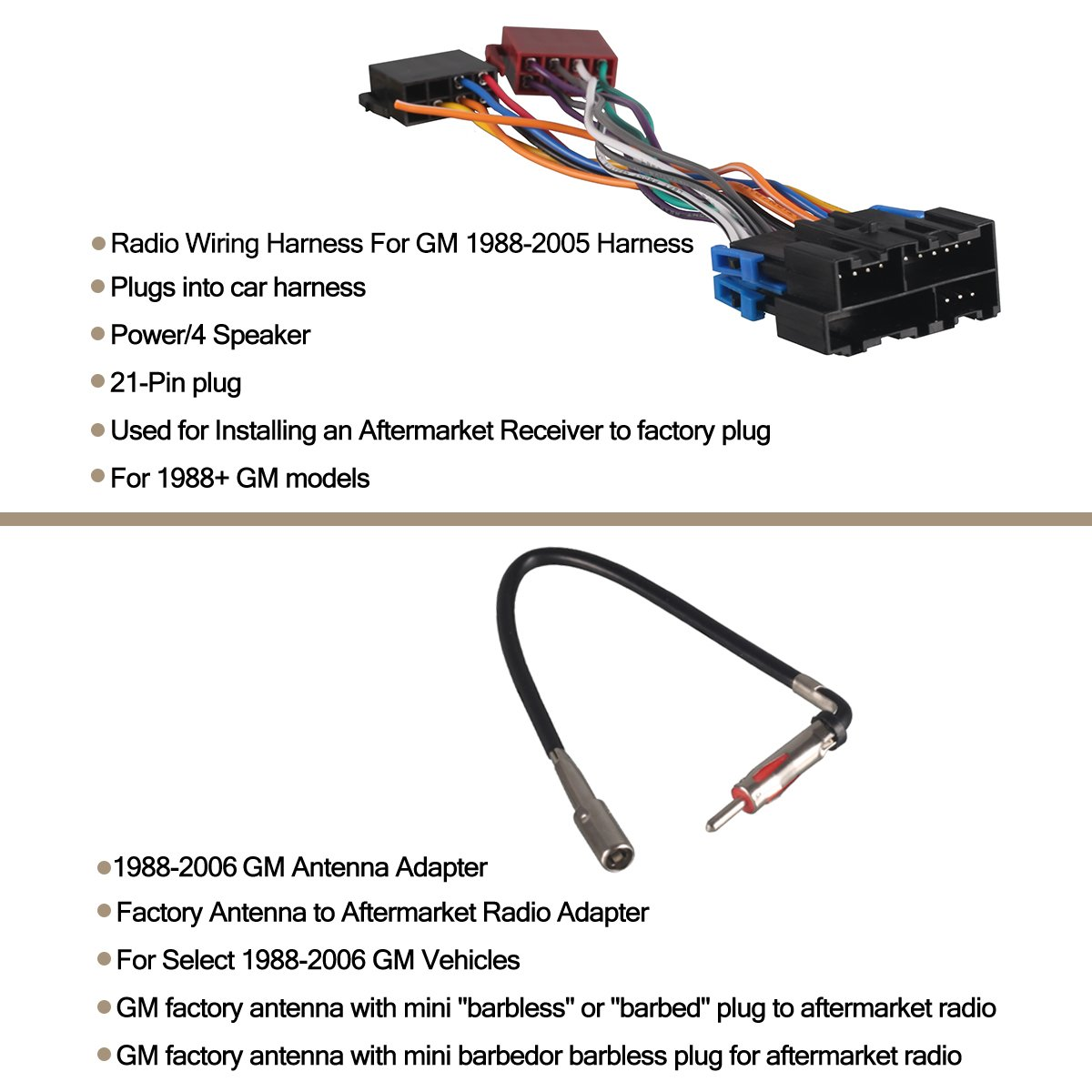 ... Single Din Car Radio Receiver, MP3 Player USB/SD Card/AUX/FM Radio with  Remote Control/Wiring Harness For GM 1988-2005/GM Antenna Adapter:  Electronics