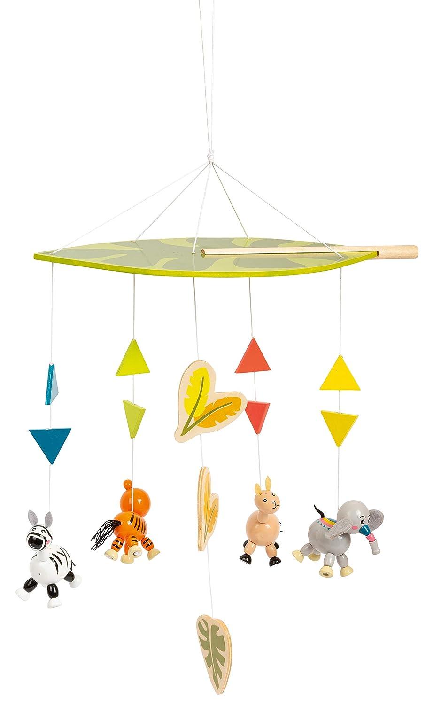 Perfetto per la cameretta dei Bambini Decorazione Multicolore Small Foot 11454 Giostrina Jungle in Legno Figure di Animali Carini Normale