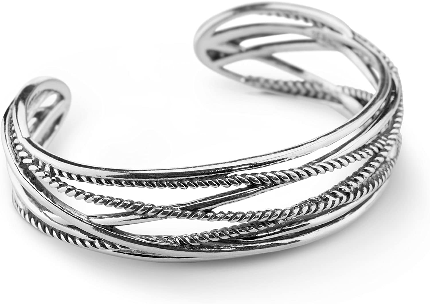 Carolyn Pollack Sterling Silver Crisscross Rope Cuff Bracelet Size S, M and L