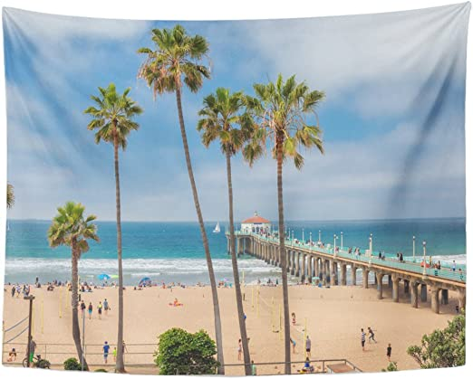 Amazon Com Emvency Tapestry Blue Malibu Manhattan Beach And Pier At Day Time In Southern California Los Angeles Orange Palm Home Decor Wall Hanging For Living Room Bedroom Dorm 60x80 Inches Home