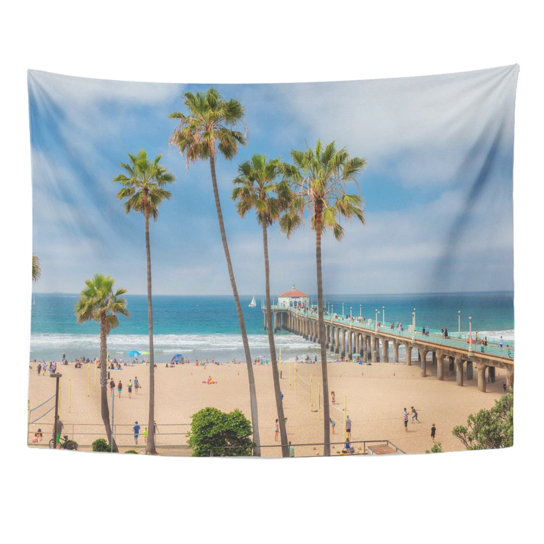 Emvency Tapestry Blue Malibu Manhattan Beach and Pier at Day Time in Southern California Los Angeles Orange Palm America Home Decor Wall Hanging for Living Room Bedroom Dorm 60x80 inches