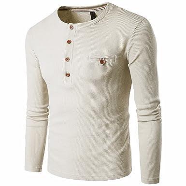 QIYUN.Z Mens Henley Neck Shirt Langarm Schlanke Passform Knopf Casual  Henley Shirts