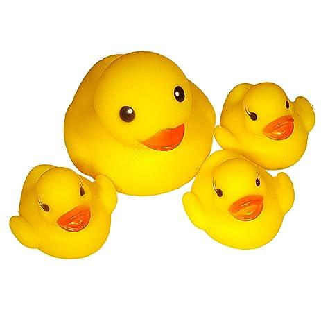 Amazon.com: 4pc Rubber Ducks - Large Rubber Duck with 3 Mini Rubber ...