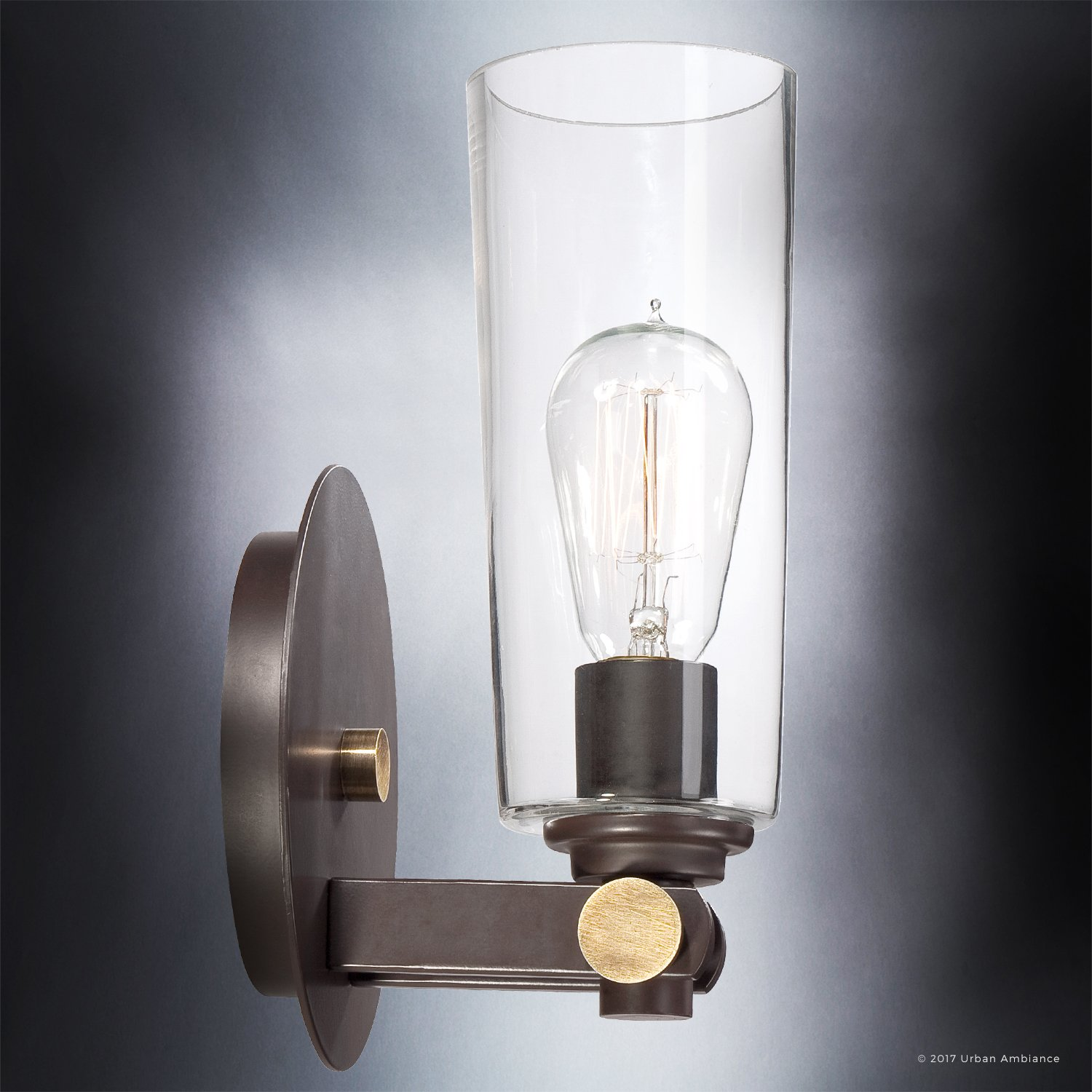Luxury Vintage Indoor Wall Light, Small Size: 11''H x 6.5''W, with Casual Style Elements, Retro Design, Elegant Estate Bronze Finish and Clear Glass, Includes Edison Bulb, UQL2690 by Urban Ambiance by Urban Ambiance (Image #5)