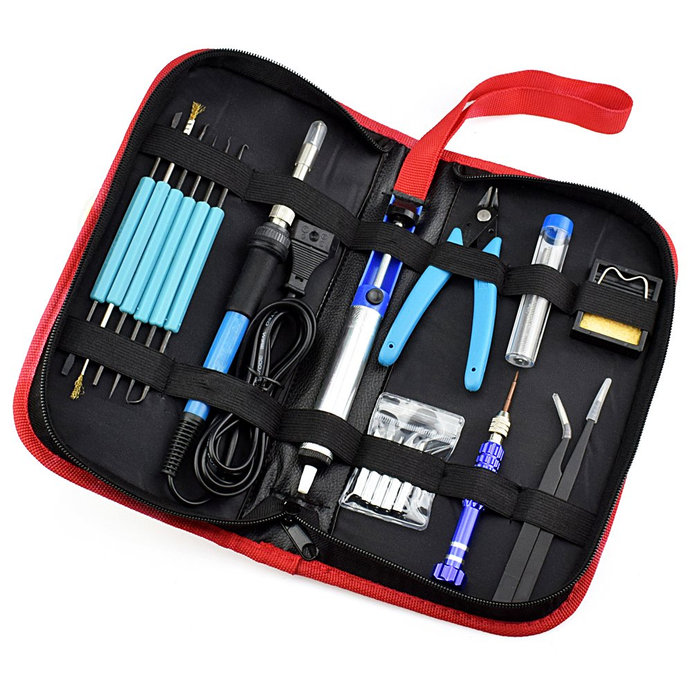 LUBAN Soldering Iron Kit, 60W Adjustable Temperature Welding Tools Portable Repair DIY Tool Set (110V)