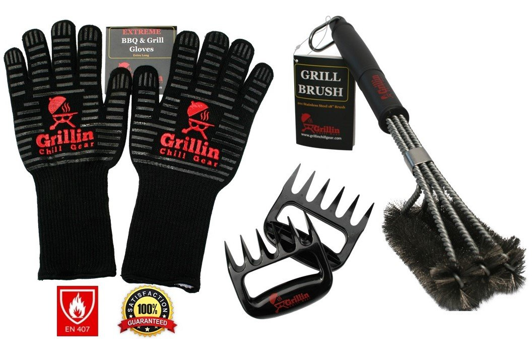 Grillin Chill Gear Meat Claws (2 Sets) - Best Bear Claw Pulled Pork Meat Shredders in BBQ Grill Accessories - Dishwasher Safe - Premium Quality Grilling Handler Carving Fork GCG USA Inc