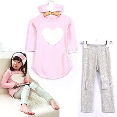 SOPO Kid Girls Cute Heart Outfits 3 Pcs Set(Headband, Tshirt, Legging)