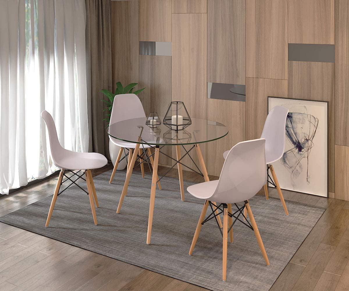 Dining Table and 4 Chairs,Modern Glass Round Dining Table with 4 White Eiffel Dining Chair Dining Table Set for Kitchen Dining Room Furniture