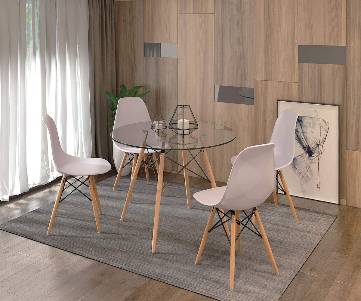 Dining Table And 4 Chairs Modern Glass Round Dining Table With Eiffel Dining Chair Dining Table Set For Kitchen Dining Buy Online In Montenegro At Montenegro Desertcart Com Productid 110474178
