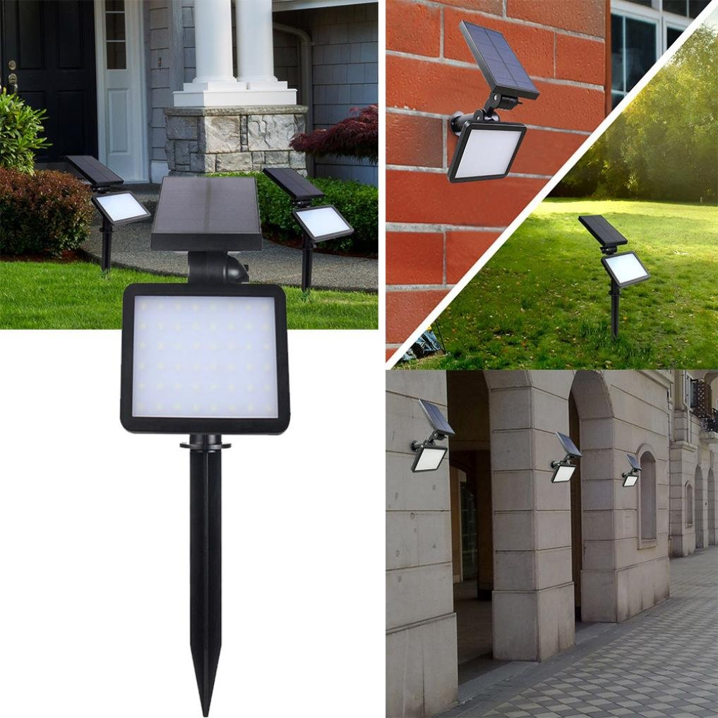 Transer 48 LED Solar Sportlight LED Garden Landscape Lamp Outdoor Lighting Wall Light (Black)