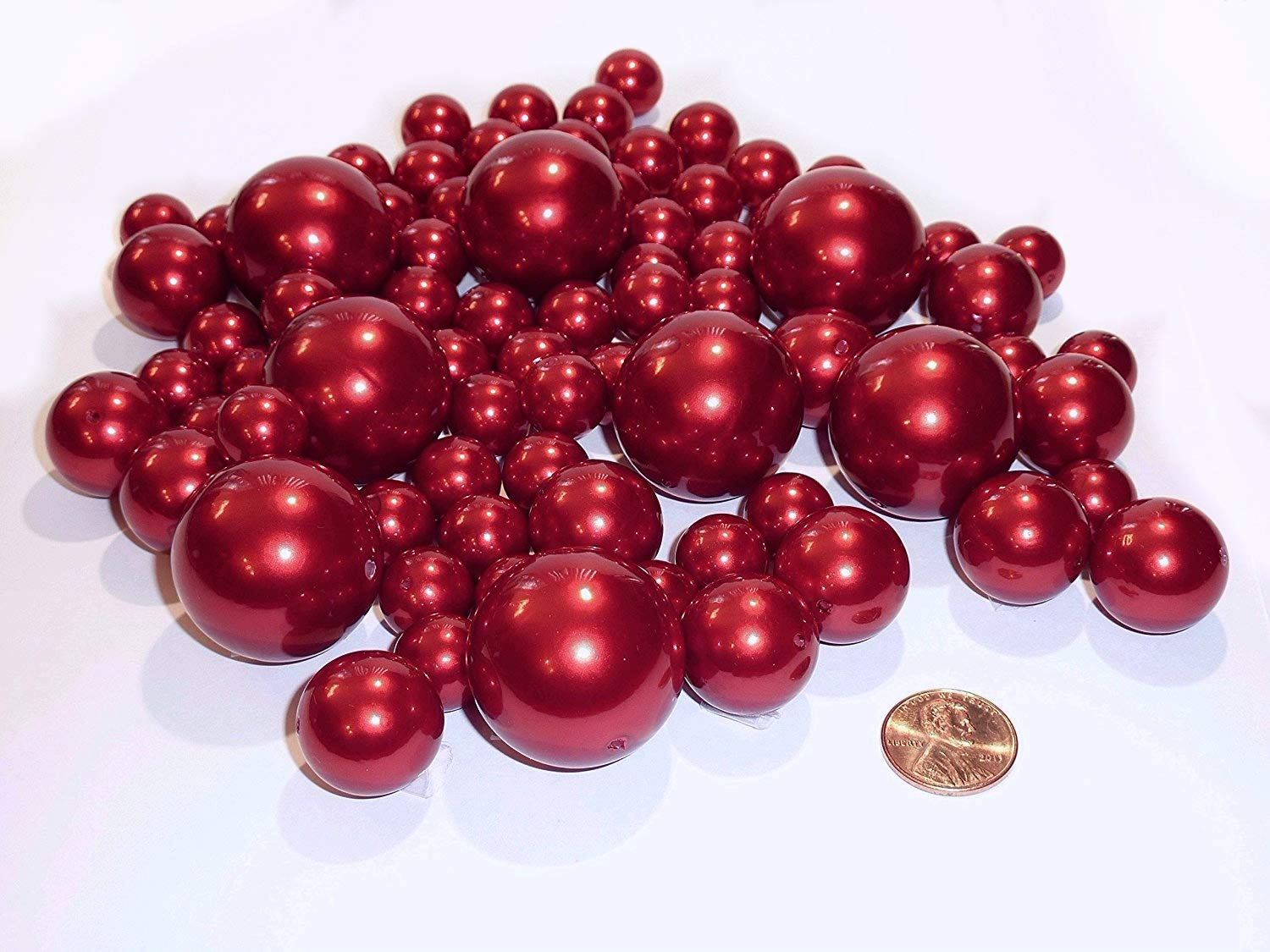 All Red Pearls - Jumbo and Assorted Sizes Vase Fillers for Decorating Centerpieces - To Float the Pearls - Order with Transparent Water Gels