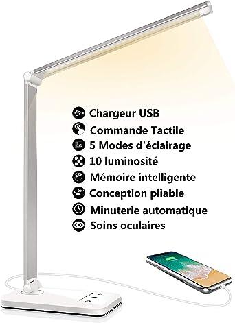 Lampe de Bureau LED, Lampes de Bureau Dimmable 5 Modes de Couleur 10 Niveaux de Luminosité, Flexible Contrôle Tactile Protection des Yeux,Lampe de
