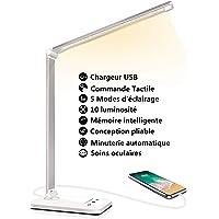 Lampe de Bureau LED, Lampe de Table Dimmable 5 Modes de Couleur 10 Niveaux de Luminosité, Flexible Contrôle Tactile Protection des Yeux, Lampe de Lecture Avec Port USB et Fonction Minuterie
