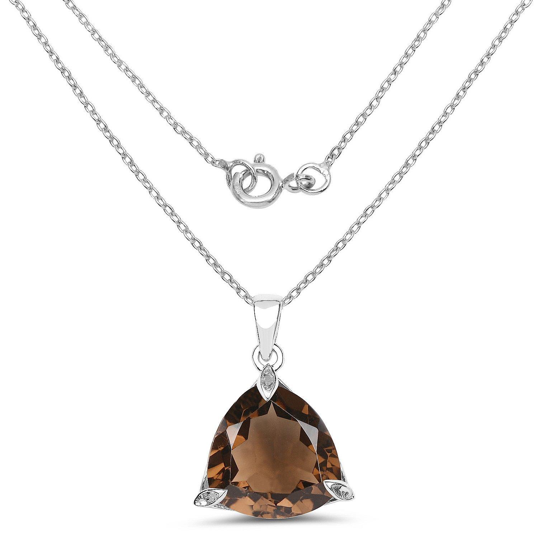 Johareez 17.34 cts Smoky Quartz .925 Sterling Silver Rhodium Plated Pendant for Women