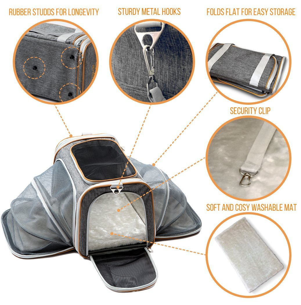 PETYELLA Luxury Pet Carrier + Fleece Blanket & Bowl - Airline Approved Innovative Design - Lightweight Dog & Cat Carrier by PETYELLA (Image #4)